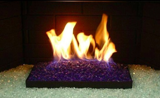 fire glass purple on white