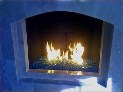 blue fire glass hidden burner