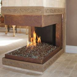 Gas Fireplace Hidden Burner Copper