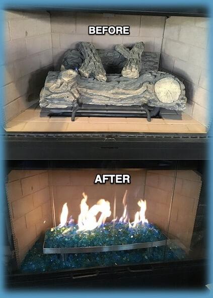 gas fireplace modernization