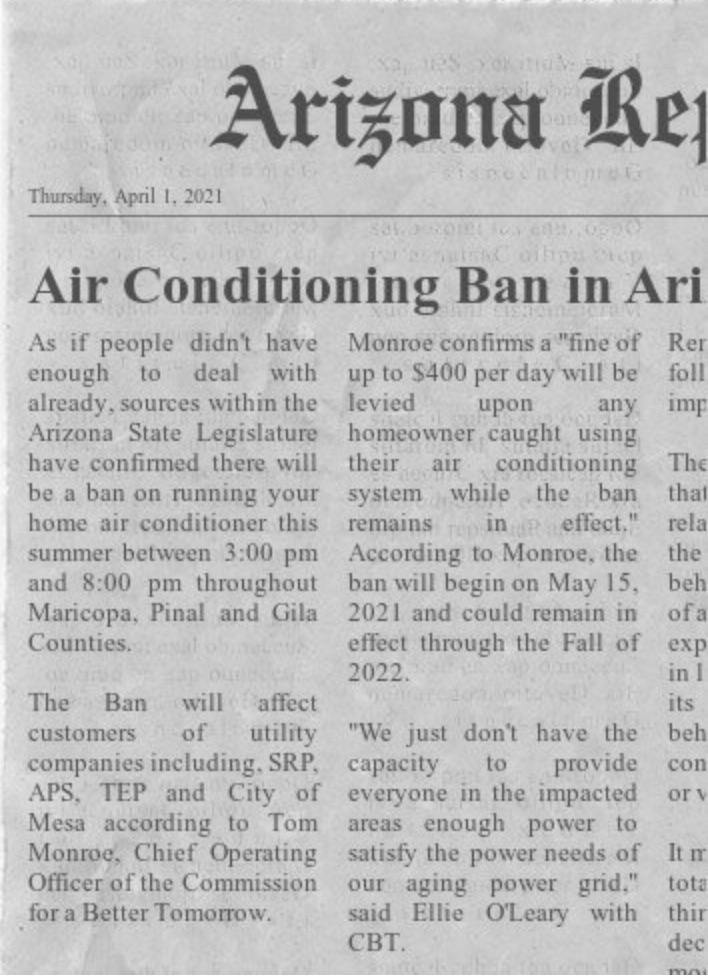 air conditioning ban in arizona